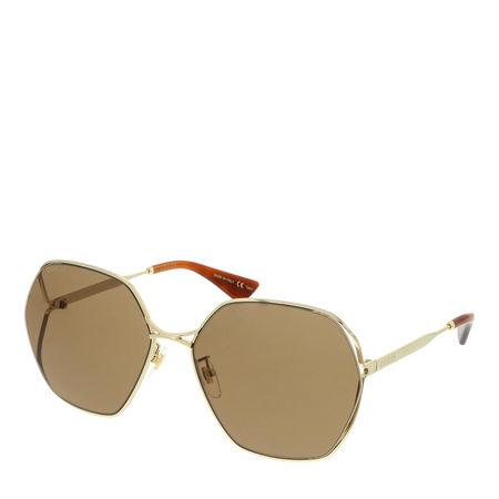 Gucci  Sonnenbrille - GG0818SA-002 63 Sunglass WOMAN METAL - in gold - für Damen braun