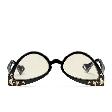 Gucci Sonnenbrille in auf den Kopf gestellter Katzenaugenform beige