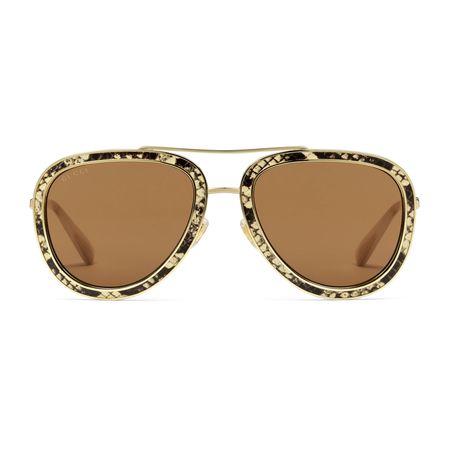 Gucci Sonnenbrille in Pilotenform mit Lederdetails