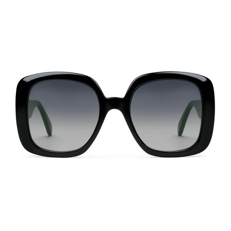 Gucci Sonnenbrille mit eckigem Rahmen und Web