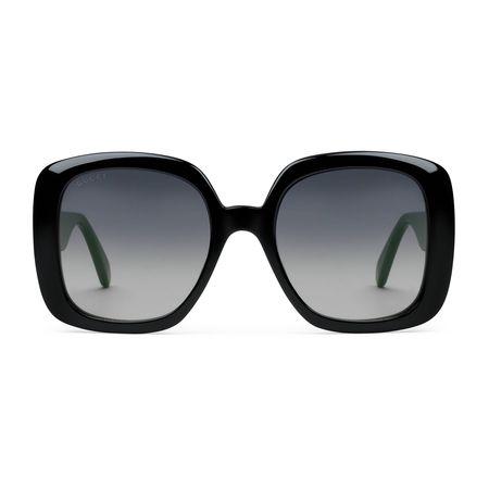 Gucci Sonnenbrille mit eckigem Rahmen und Web schwarz