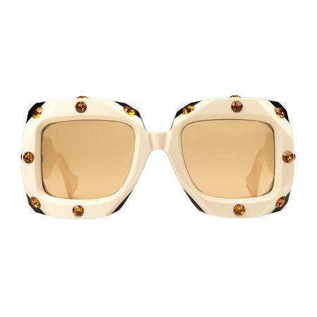 Gucci Sonnenbrille mit extragroßem, quadratischem Rahmen mit Kristallen orange