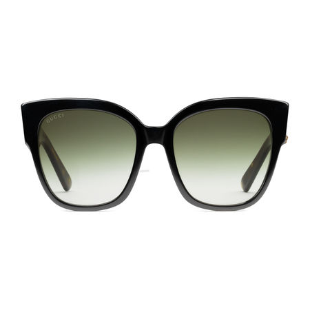 Gucci Sonnenbrille mit quadratischem Rahmen aus Azetat mit Webstreifen schwarz