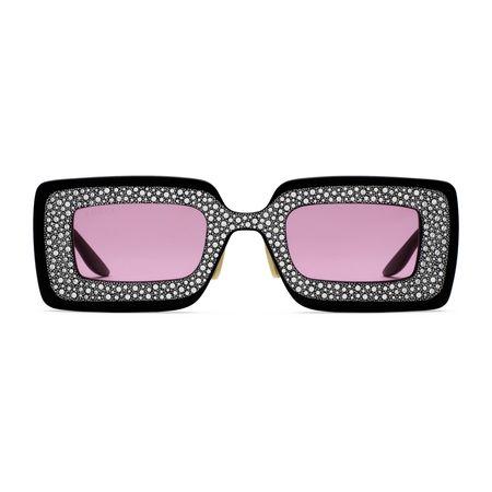 Gucci Sonnenbrille mit rechteckigem Rahmen und Kristallen