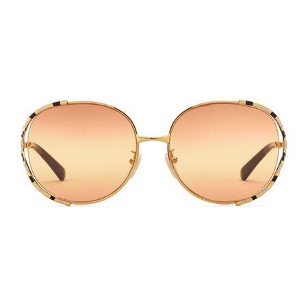 Gucci Sonnenbrille mit rundem Metallrahmen orange