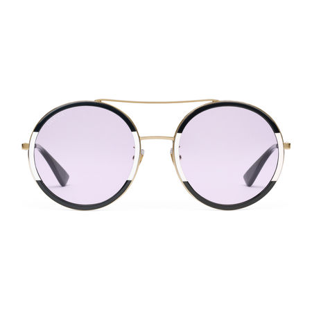 Gucci Sonnenbrille mit rundem Rahmen aus Metall lila