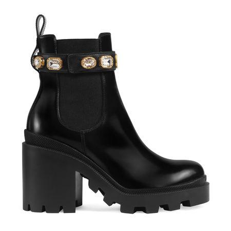 Gucci Stiefelette aus Leder mit Gurt schwarz