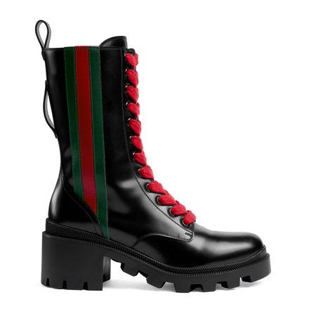 Gucci Stiefelette aus Leder mit Web schwarz