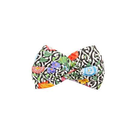 Gucci Stirnband aus Seide mit Print grau