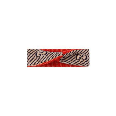 Gucci Stirnband aus Wolle mit GG Streifen rot