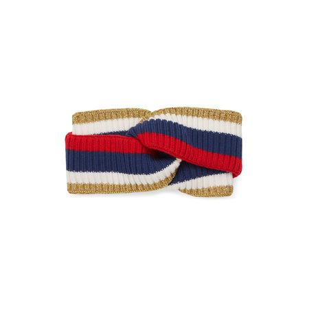 Gucci Stirnband aus Wolle mit Sylvie Web grau