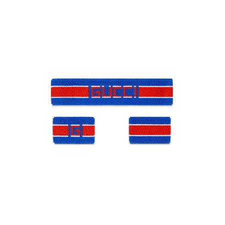 Gucci Stirnband und Handgelenkbänder blau