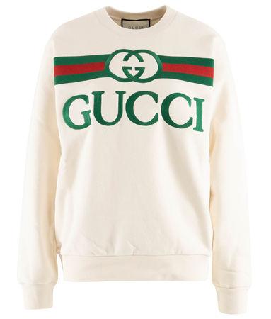 Gucci  - Sweater aus Baumwolle mit Bestickung beige