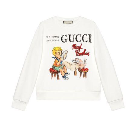 "Gucci Sweatshirt mit  ""Mad Cookies""-Print weiss"