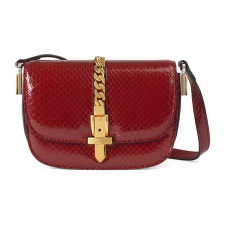 Gucci Sylvie 1969 Mini-Schultertasche aus Pythonleder rot
