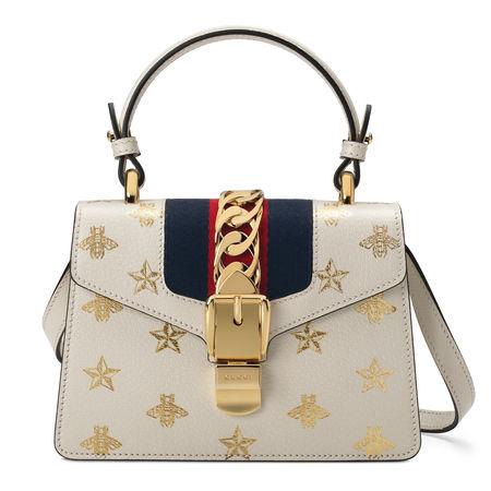Gucci SylvieBiene-Stern-Mini-Tasche aus Leder braun