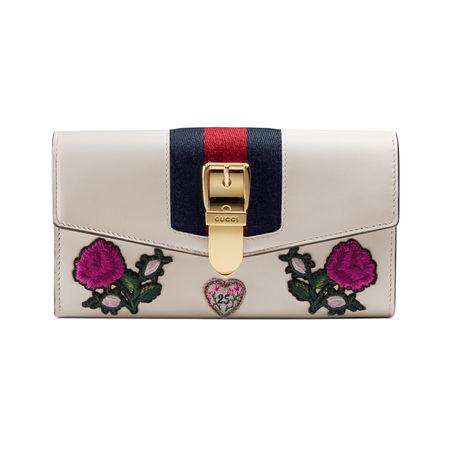 Gucci Sylvie Continental Brieftasche aus Leder mit Stickerei braun