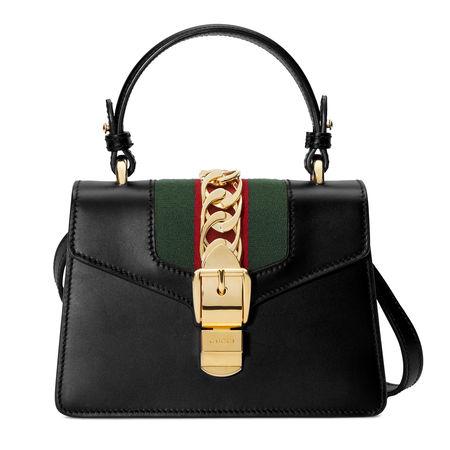 Gucci Sylvie Mini-Tasche aus Leder schwarz
