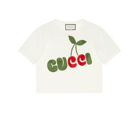 Gucci T-Shirt aus Baumwolle mit Kirschen-Print weiss