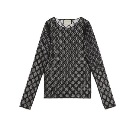 Gucci T-Shirt aus Tüll mit GGStickerei grau