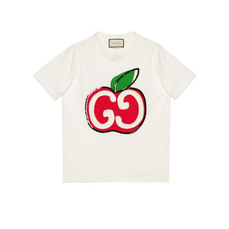 Gucci T-Shirt mit GGApfel-Print beige