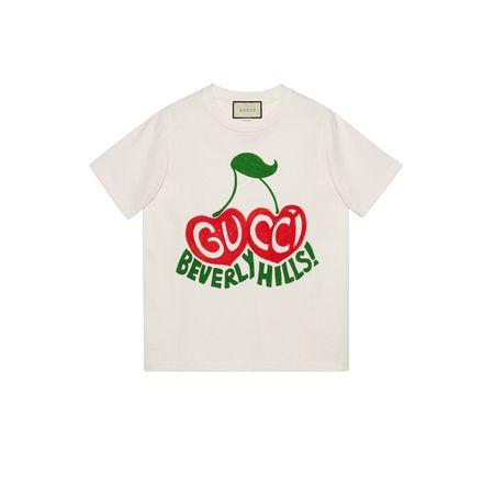 """Gucci T-Shirt mit Kirsche mit """"Beverly Hills""""-Print beige"""