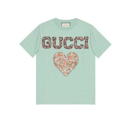 Gucci T-Shirt mit Patches und  Liberty-Print tuerkis