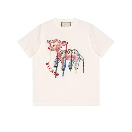 Gucci T-Shirt mit Rehkitz-Patch beige