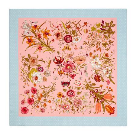 Gucci Tuch aus Seide mit Flora-Print orange