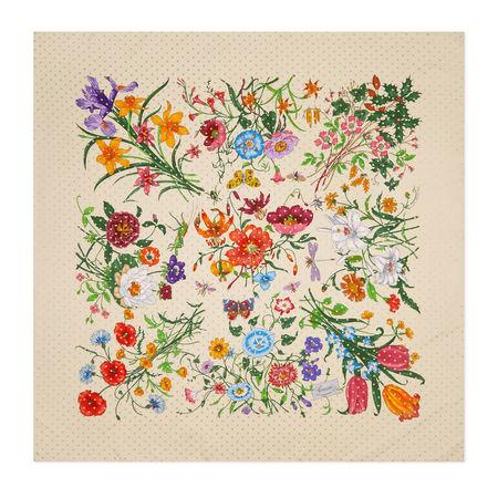 Gucci Tuch aus Seide mit FloraStar-Print braun