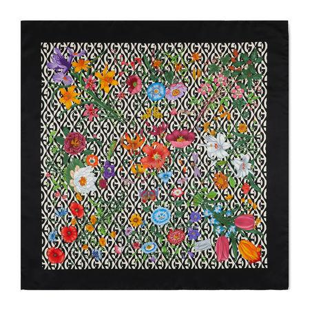 Gucci Tuch aus Seide mit Flora- und GRhombus-Print schwarz