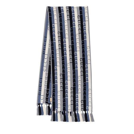 Gucci  Tücher & Schals - Patterned Stripe Scarf Wool - in blau - für Damen