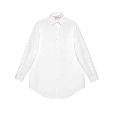 Gucci Übergroße Bluse aus Sea Island-Baumwolle grau