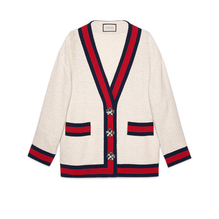 Gucci Übergroße Cardiganjacke aus Tweed braun