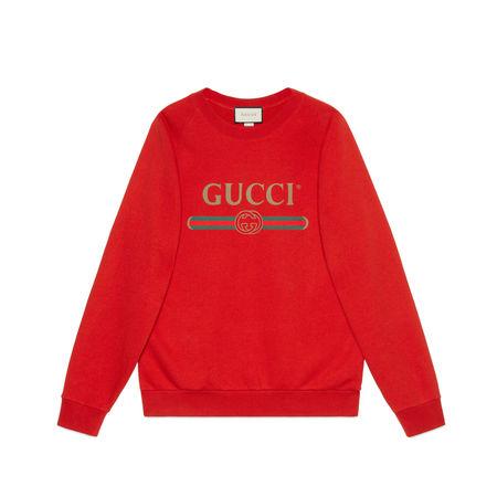 Gucci Übergroßer Pullover mit Pailletten-Patchs rot