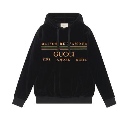Gucci Übergroßer Pullover mit Stickerei schwarz