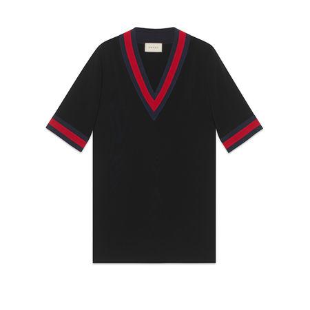 Gucci Übergroßes Hemd aus Viskose mit Web schwarz