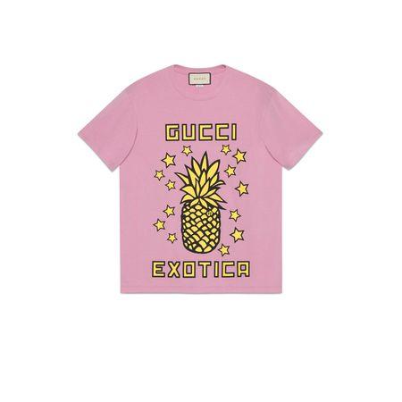 Gucci Übergroßes T-Shirt mit Ananas-Print rosa