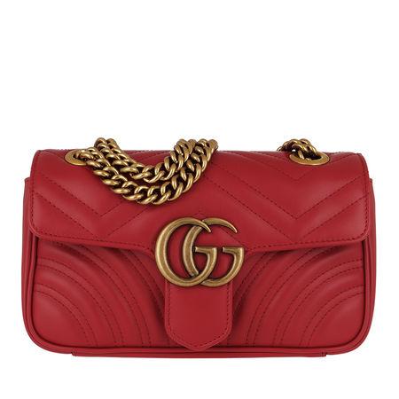 Gucci  Umhängetasche  -  GG Marmont Metalassé Mini Bag Hibiscus Red  - in rot  -  Umhängetasche für Damen rot