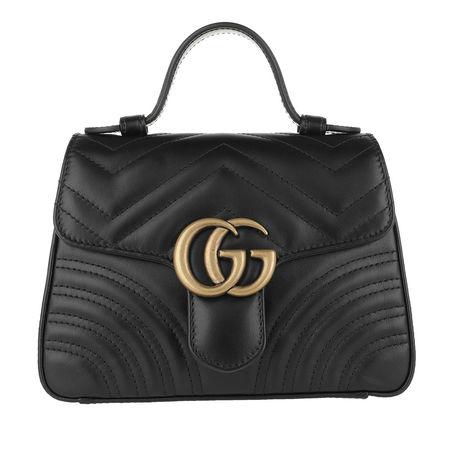 Gucci  Umhängetasche  -  GG Marmont Mini Top Handle Bag Black  - in schwarz  -  Umhängetasche für Damen grau