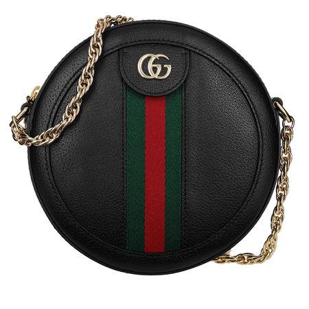 Gucci  Umhängetasche  -  Ophidia Mini Round Shoulder Bag Leather Black  - in schwarz  -  Umhängetasche für Damen schwarz