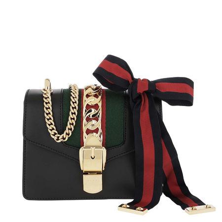 Gucci  Umhängetasche  -  Sylvie Mini Chain Bag Leather Black  - in schwarz  -  Umhängetasche für Damen schwarz