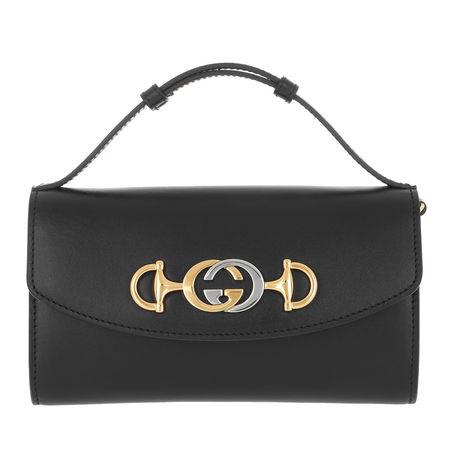 Gucci  Umhängetasche  -  Zumi Mini Bag Leather Black  - in schwarz  -  Umhängetasche für Damen grau