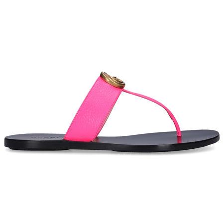 Gucci Zehentrenner 0ZP00 Kalbsleder Logo pink schwarz
