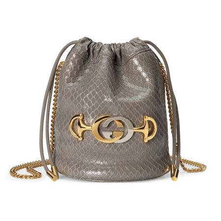 Gucci  Zumi Mini-Bucket Bag aus Pythonleder braun