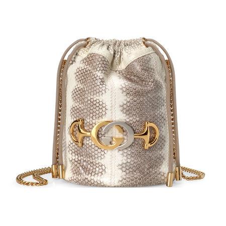 Gucci  Zumi Mini-Bucket Bag aus Schlangenleder braun