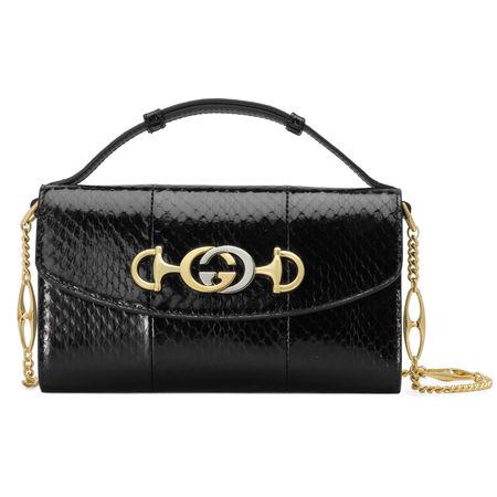 Gucci  Zumi Mini-Schultertasche aus Schlangenleder schwarz