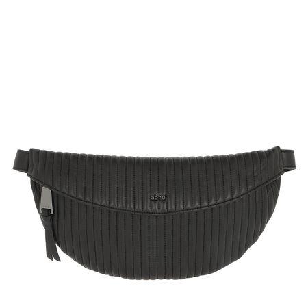 abro  Gürteltasche  -  Nappa Beltbag Black/Guncolor  - in schwarz  -  Gürteltasche für Damen grau
