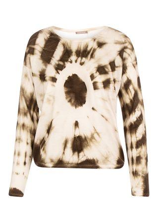 Hemisphere Cashmere Batik-Pullover in Khaki und Hellgrau beige