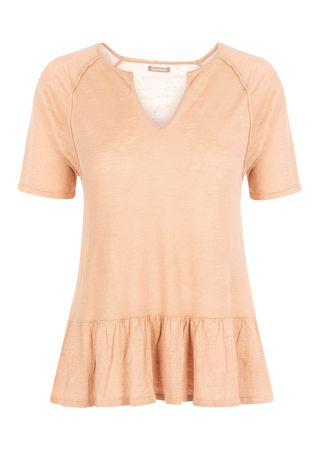 Hemisphere Cashmere T-Shirt aus Leinen in Altrosa orange